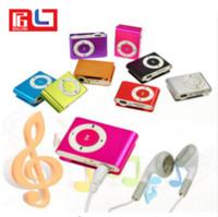 reproductor de mp3 al por mayor-Metal Mini Clip MP3 compatible con ranura Micro TF / SD con auricular y cable USB Reproductores de música MP3 portátiles