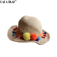 Wholesale Summer Womens Foldable Hats - Wholesale-Summer Tassel Wool Ball Colorful Women Straw Hats Foldable Hawaii Mexico Hat For Womens Beach Large Brimmed Cap Girls ZWW0152-5