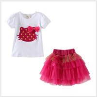 Wholesale Girls Cartoon Kt Clothing - Lovely Girls Cartoon KT Cat Clothing Sets Children Short Sleeve T-shirt With Bowtie+Lace Gauze Tutu Skirt 2pcs Set Kids Suits Girl Outfits