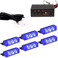 6 X 3 LED Notfall Warnung Auto Auto Boot Grill Bars Blau Strobe Light