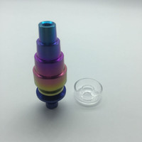 quartz titanium nail 2021 - Rainbow Color domeless Titanium Nail With Quartz Dish 10mm 14mm18mm Male Female 6 in 1 GR2 Titanium Nails for Glass Bong Water Pipes