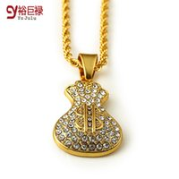Wholesale Chain Link Purse - 2016 Fashion New 18K Gold Plated Dollar Purse Pendant Necklace Money Bag Bling Gold Jewelry Wholesale Trade With Long Twisted Chain
