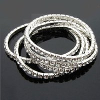 ingrosso bracciali singoli d'argento-Braccialetti con ciondoli Braccialetti con placcatura in argento Gioielli Moda con brillantini Imitazione diamante a una fila di bracciali elasticizzati in argento