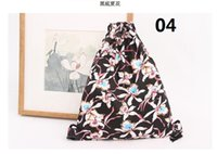 Wholesale Cartoon Flower Drawings - Original B101 summer flowers Hand draw string cloth The back beam mouth Female bag Wholesale leisure A bag Direct selling backpack