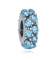 Wholesale Silver Charm Space Beads - Wholesale10pcs Multicolor Diamond Space Charm Beads Siver European Charms Bead Fit Pandora Bracelet Fashion DIY Jewelry