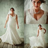 Wholesale Slim Fitting Mermaid Bridal Dresses - Custom Made Plus Size 2017 Mermaid Wedding Dresses Lace Up Back Slim Chapel Train Fat Ladies Good Fitted Bridal Gowns