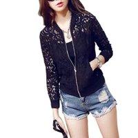 Wholesale Top Coat Wholesale Pricing - Wholesale-Factory Price! Women Lace Zipper Thin Jacket Long Sleeve Crochet Coat Cardigan Tops Outwear