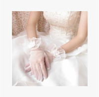Wholesale White Bridal Gloves Simple Wrist - 2017 Simple White Tule Bridal Gloves Ruffled Wedding Glove Short Wedding Accessories Gloves for Brides Fingerless Fast Shipping In Stock
