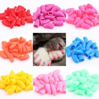 Wholesale Dog Nail Covers - 20pcs set Colorful Cats Dogs Kitten Paws Grooming Nail Claw Cap + Adhesive Glue Soft Rubber Pet Nail Cover Paws Caps WA0715