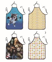 Wholesale Animal Print Essentials - Lovely Cat Pinafore Personality Men And Women 3D QQ Emoji Printing Apron Home Kitchen Essential Furnishing Articles 12ft C R