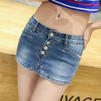 Wholesale Thin Beautiful Body - Sexy Fashion Women Was Thin Casual Body Denim Beautiful Skorts Skirt Summer Blue Jeans With Zipper