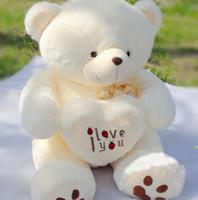 Wholesale Cute Love Teddy Bears - 50cm&70cm Cute Stuffed Plush Toy Holding LOVE Heart Big Plush Teddy Bear Soft Gift for Birthday Girls' Brinquedos