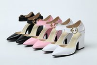 Wholesale rhinestone belt fall for sale - TOP QUALITY u614 black white pink genuine leather ankle belt thick heel pointy pumps sandals shoes women fashion luxury designer runway