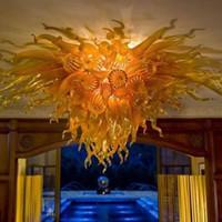 Wholesale Murano Flower Chandelier - Amber Glass Flower Ceiling Light Chandelier LED Light Wonderful Design Hotel Home Decoration Chihully Style Murano Blown Glass Ceiling Light