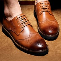 Wholesale Vintage Mens Dress Shoes - Noble Stylish Genuine Leather Vintage Carved Brogues Shoes Mens Casual Oxfords Shoes Hand Made Lace Up British Style High Quality