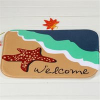Wholesale Starfish Bedroom - Starfish Beach Bath Mats 100% Polyester Coral Fleece Rectangle Cartoon Non-slip Bathroom Bedroom Carpet Home Mat 40X60CM