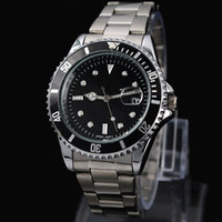 Wholesale Stainless Steel Military Black - 2017 New man Military watch Stainless steel luxury Casual wristwatch steel quartz watches clock male brand watch Free shipping