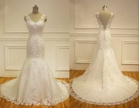 Wholesale Satin Fit Flare Gown - Lace Appliques Mermaid Wedding Dresses 2016 Beaded V-neck Low Back Chapel Train Fit And Flare Bridal Gowns Vestido De Noiva Real Photo