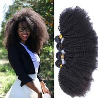 dhl kıvırcık saç toptan satış-Brezilyalı Saç Sapıkça Kıvırcık Insan Saç Örgüleri 3 adet çok 8A 100% Işlenmemiş afro Kinky Kıvırcık Saç Uzantıları 3 Demetleri DHL ücretsiz