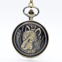 Wholesale Womens Plastic Watches - New Fashion Wolf Totem Wolf Quartz Pocket Watch Analog Pendant Necklace Mens Womens Watches Gift