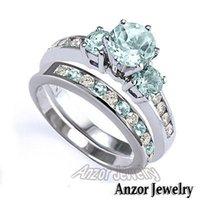 Wholesale Diamond Aquamarine Engagement Rings - Women's Engagement Wedding Set Aquamarine G-VS2 Diamond 14K White Gold #R1432