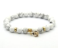Wholesale Elastic Cz - Wholesale 10ps lot 8mm White Howlite Stone Real Gold Plated Crown CZ Beads Charm Elastic Bracelets Party Gift
