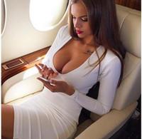 sıcak seksi gece klübü parti elbisesi toptan satış-SEKSI Derin V boyun Rahat Parti Elbise Moda sıcak Uzun Kollu Bandaj Seksi Beyaz Kulübü Gece Giyim Bodycon Elbise için