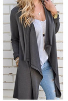 Wholesale Cheap Long Sleeve Loose Dresses - 2016 European Autumn Suit-dress Dark Grey Long Sleeve Irregular Cardigan Loose Coat Plain Top SMILE FACE Cotton Dress Cheap Dresses