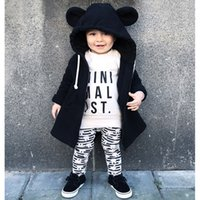 Wholesale Girls Clothing Hoodie - Bear Kids Zipper Jacket Cartoon Cotton Hoodies Coats Long Sleeve Baby Boys Girls Fashion Outwear Autumn Winter Casual Clothing Slip-on Chain
