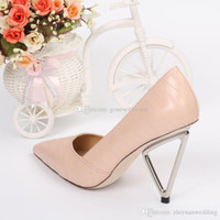 Wholesale Ballet Flat Wedge Ankle Strap - 2017 new arrival pink white grey burgundy cowskin wedge bridal wedding shoes with rose Slip-On high heel pumps evening party prom shoes