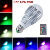 Wholesale B22 Led Bulbs Remote - Energy saving Efficient 10W E14 E27 B22 GU10 RGB Bulb LED Globe Bulb Color Changing Mood Light Bulb with 24 key Remote, Memory Function Bulb