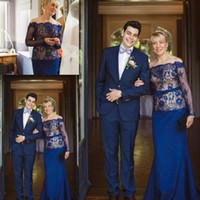 vestidos árabes para casamentos venda por atacado-2016 elegante Plus Size Mãe dos vestidos de noiva Sheer mangas compridas sereia fora do ombro Lace árabes vestidos de noite formal para casamentos