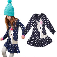 Wholesale Cute Tops For Winter - new 2017 fashion baby girls dress cute deer long sleeve cotton polka dots top children dresses for girl clothes christmas gifts