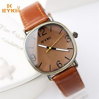 Wholesale Eyki Watch Leather Male - 2016 Men Square Quartz Watch Leather Belt Watches EYKI Casual Wristwatch Round Military Watch Male Simple Business montre femme