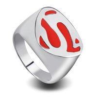 Wholesale classic costume jewelry wholesale - 2018 Superman Ring of Superman Returns Cospaly Costume rings Jewelry With Titanium Steel Movie jewelry fashion classic rings zj-0903768