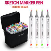 kopya setleri toptan satış-80 Renkler Sanatçı Için Çift Kafa Kroki Copic Belirteçler Set Manga Marker Okul Çizim Işaretleyici Kalem Tasarım Malzemeleri
