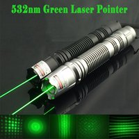 Wholesale Cheapest Laser Pens - Cheapest aerometal high power 5mw 532nm Green Laser Pointer pen adjustable focus burning match cigarette 5 star caps Free shipping