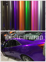 Wholesale film releases - Various Color Gloss Metallic Candy Vinyl For Car Wrap Covering with Air Release Gloss Candy film High quality 1.52x20m Roll(5ftx66ft