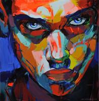 lona de pintura abstrata da cara venda por atacado-Pintados à mão faca de paleta pintura Retrato da faca de Paleta Françoise Nielly Man Face pintura a óleo Abstrata Impasto figura na lona Novo