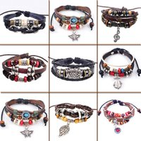 Wholesale Eyeball Charms - Free Shipping 2017 Multilayer Adjustable High Quality Ethnic Eye Eyeball Leather Weave Beaded Bracelet for Men Women Gift Jewelry