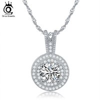 Wholesale Women Silver Necklace 925 - ORSA New Arrival 1.25ct Heats and Arrows Cut 925 Silver Zircon Pendant Necklace for Women ON87