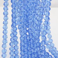 Wholesale Spherical Beads - Hot ! 360pcs Light Blue 8mm Cutting surface Spherical crystal glass spacer beads for beaded bracelets