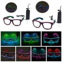 Wholesale Glowing Party Glasses - LED EL Wire Glasses Light Up Glow Sunglasses Eyewear Shades DJ Nightclub Party Lighting Glasses KKA2323