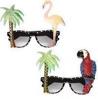 Hawaiian Flamingo Papagei Brille Sonnenbrillen Neon Tropical Beach Sommer BBQ Kostüm Hen Bühne Party Requisiten Urlaub brillen
