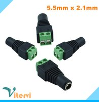 Wholesale Female Strips - DC Female LED Strip Light 5.5x2.1mm Strip lamp Plug DC Power Jack Connector Plug Adapter 5050 3528 5630 5730 Single Color
