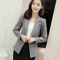 Wholesale Long Blazer Jackets For Women - Women Blazers and Jackets 2017 Apparel For Womens New Fashion Spring Autumn Long Sleeve Solid White Gray Blue Green Party Work
