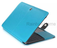 Wholesale Wholesale Macbook Pro Cases Leather - Slim PU Leather Case Protective Cover For Macbook Air Pro with Retina 11 12 13 15 inch Laptop Protection Folding Cases