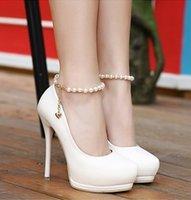 Wholesale Dresses Women Korea - High Heels Korea Princess Buckle Strap Women Ladies Shoes Pearl Thin High Heeled Platform Shoes Wedding Pumps 34-39