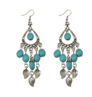Wholesale Turquoise Fish Earrings - New Arrival Exotic Style Leaves Tassel Earrings Women Turquoise Pendant Earrings Female Antic Silver Long Fish Earring 5PRS Cheap Earring