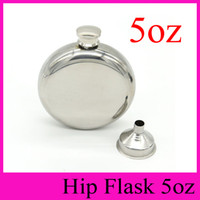 Wholesale Hip Flask Silver - 5oz Round Hip Flask With Free Funnel 5 Ounce Stainless Steel Hip Flasks Outdoor Portable Flagon 5 oz Whisky Liquor Stoup 2016 New